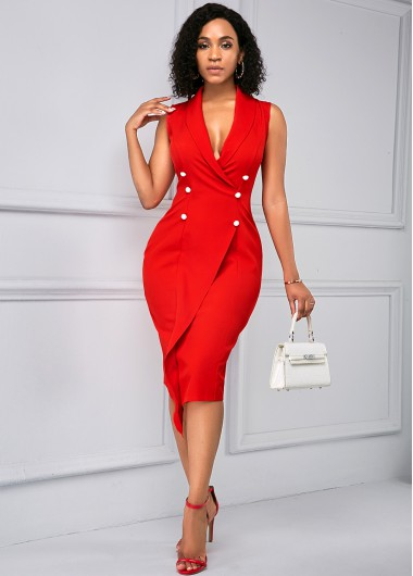 Rosewe Women Red Sleeveless V Neck Button Detail Sheath Work Dress Solid Color Knee Length Elegant Cocktail Party Dress - L