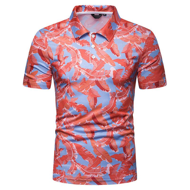 Mens Fashion Turn Down Collar 3D Printing T-shirts