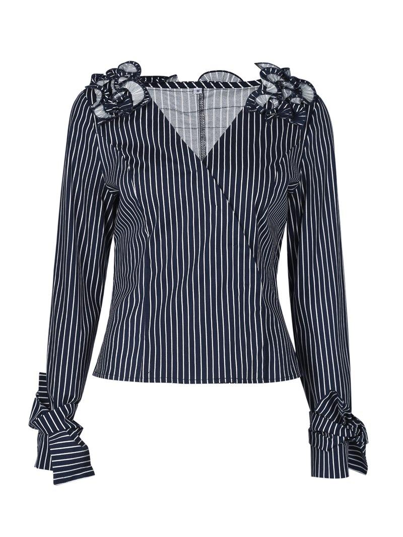 Ericdress Slim V-Neck Stripe Pleated Womens Top