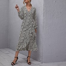 Surplice Neck Knot Ruffle Hem Ditsy Floral Dress