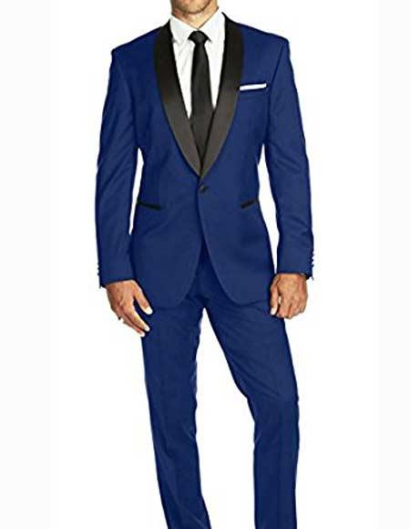 Men's One Button Satin Shawl Slim Fit Solid Single Blue Tuxedo Suit