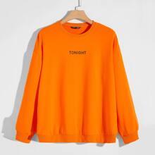 Men Neon Orange Letter Graphic Drop Shoulder Pullover