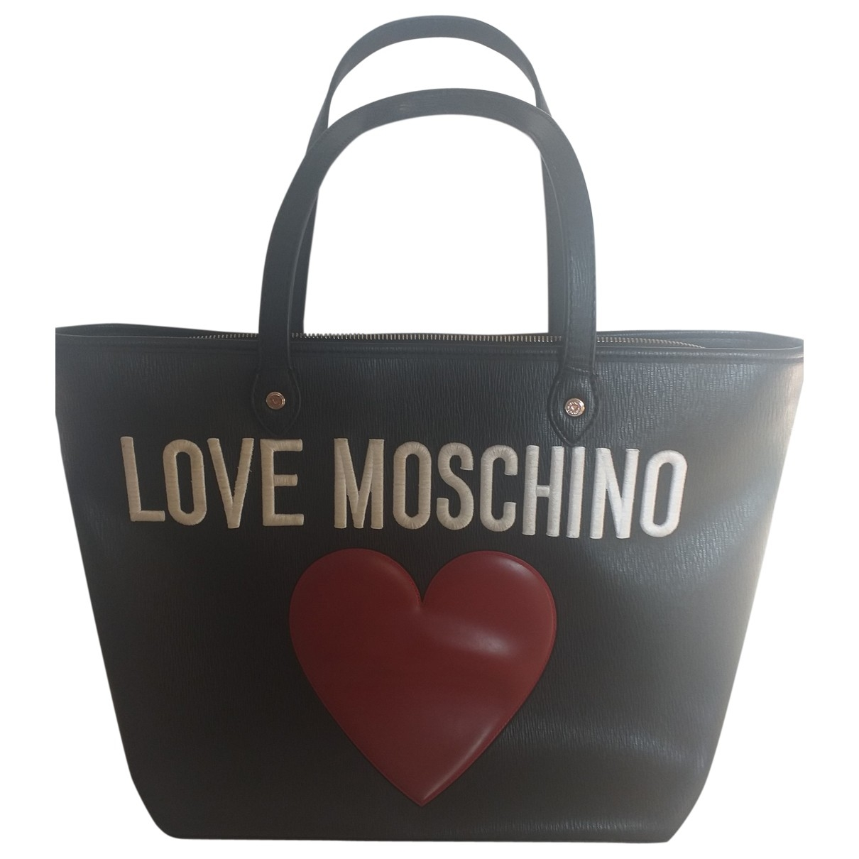 Moschino Love \N Clutch in  Schwarz Leder