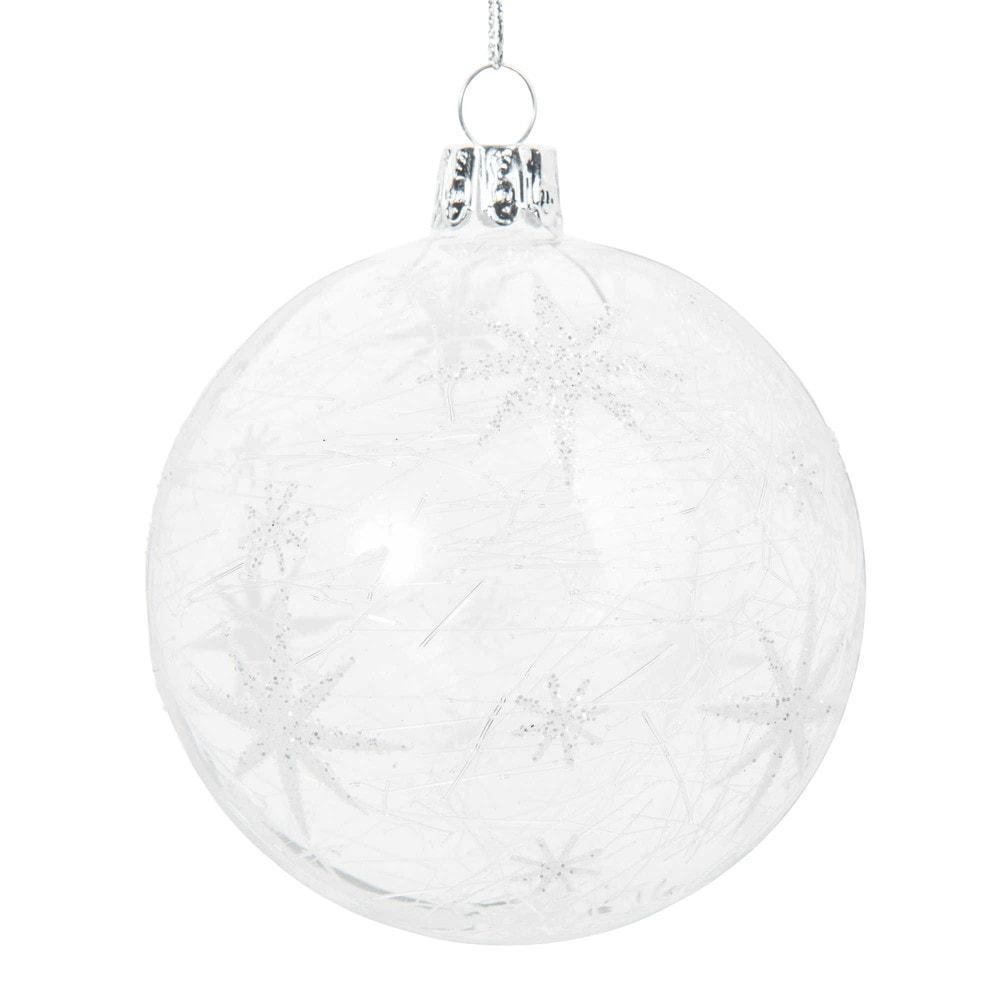 Weihnachtskugel aus Glas mit silberfarbenen Sternen