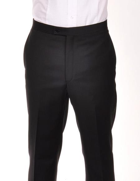 Tuxedo 1 Wool Ralph Lauren Black Flat Front Pant For Men