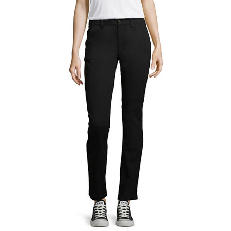 Arizona Slim Fit Straight Pants-Juniors, 5 , Black