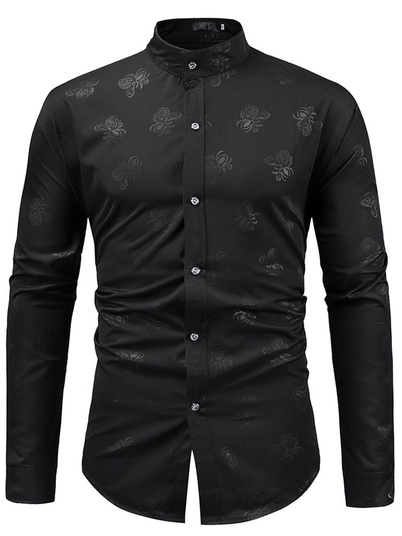 Ericdress Floral Print Stand Collar Mens Casual Dress Shirts