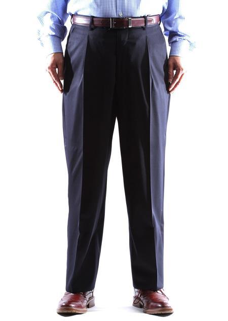1 Wool Navy Dress Pants Pleated Pants Gabardine Fabric