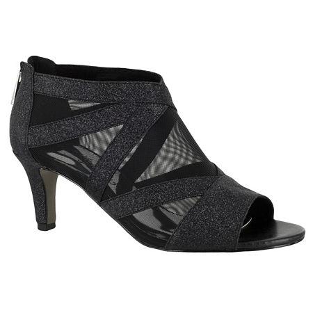 Easy Street Womens Dazzle Zip Open Toe Spike Pumps Heel, 9 Medium, Black