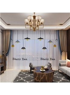 3D Simple Chandeliers Printed Breathable and Decorative 2 Panels Custom Sheer