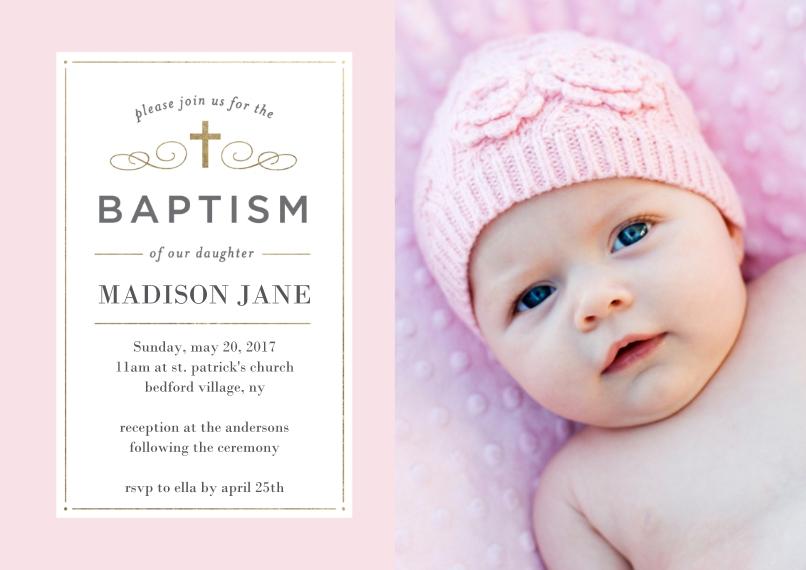 Baptism Invitations 5x7 Cards, Premium Cardstock 120lb, Card & Stationery -Baptism Simple Cross