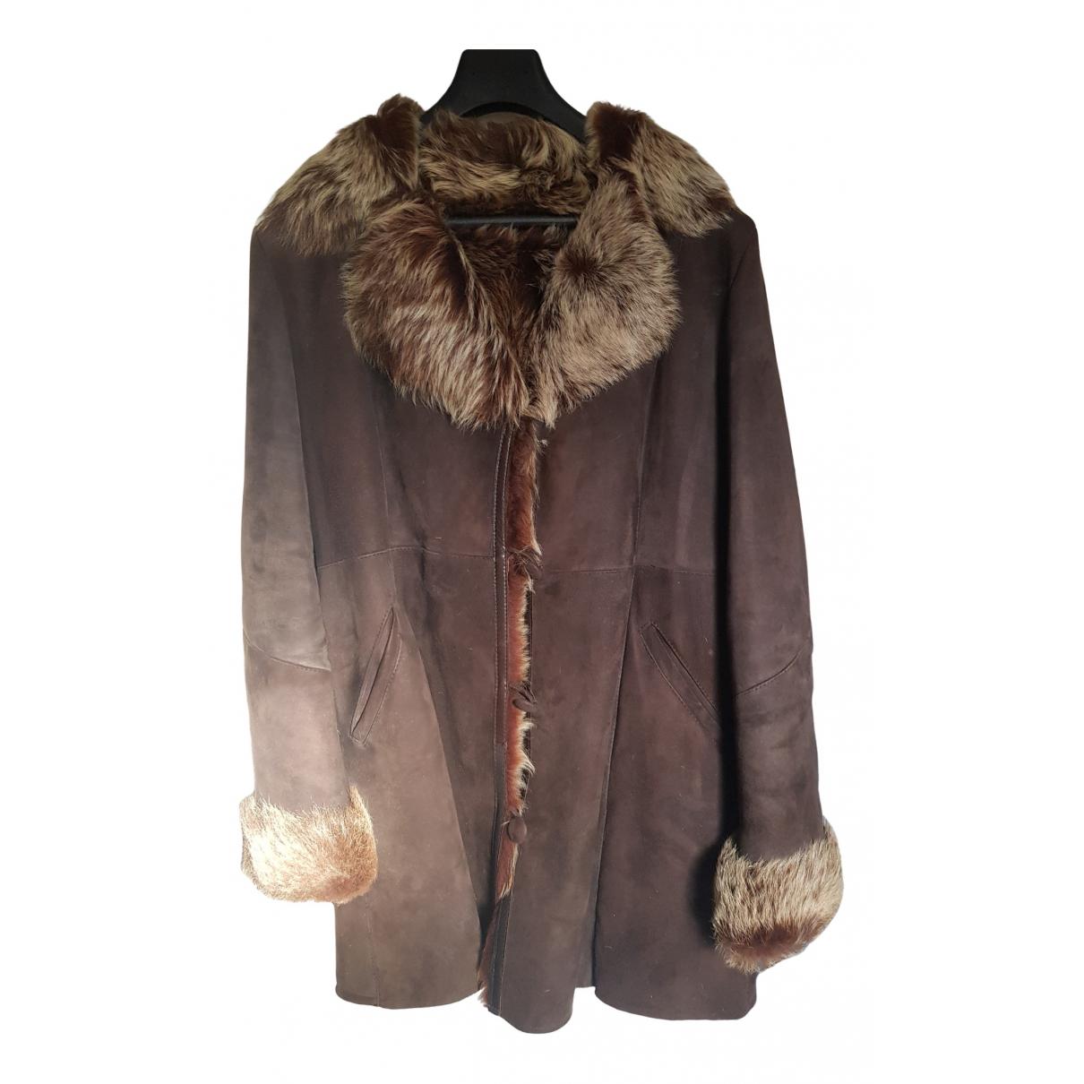 - Manteau   pour femme en cuir - marron