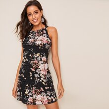 Kleid mit Blumen Muster, Reissverschluss hinten und Neckholder