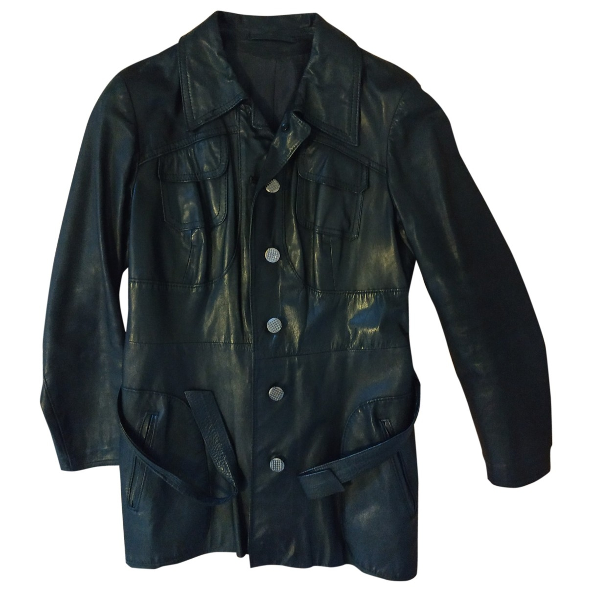 Non Signé / Unsigned \N Black Leather Leather jacket for Women 50-52 IT