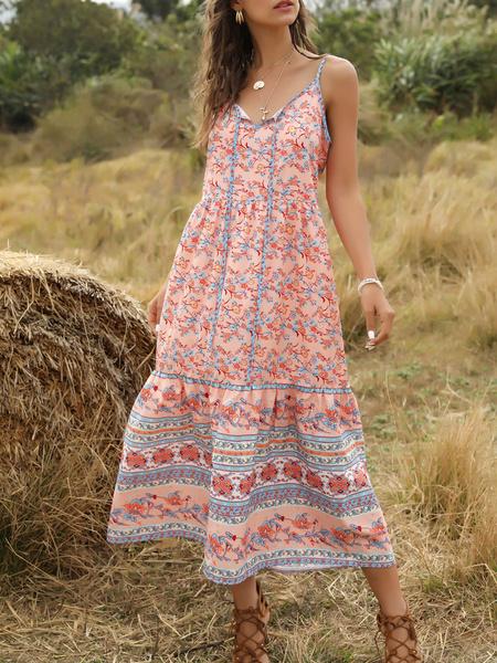 Milanoo Vestido Boho Correas ajustables Cuello en V Sin mangas Estampado floral Vestido de verano con cordones