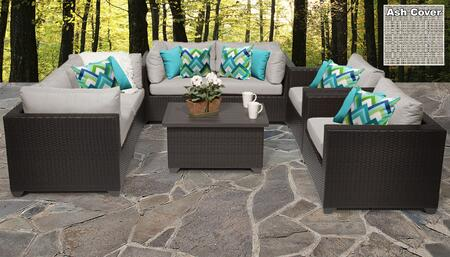 Belle Collection BELLE-07c-ASH Belle 7-Piece Patio Set 07c with 4 Corner Chair   1 Coffee Table   2 Club Chair - Wheat and Ash