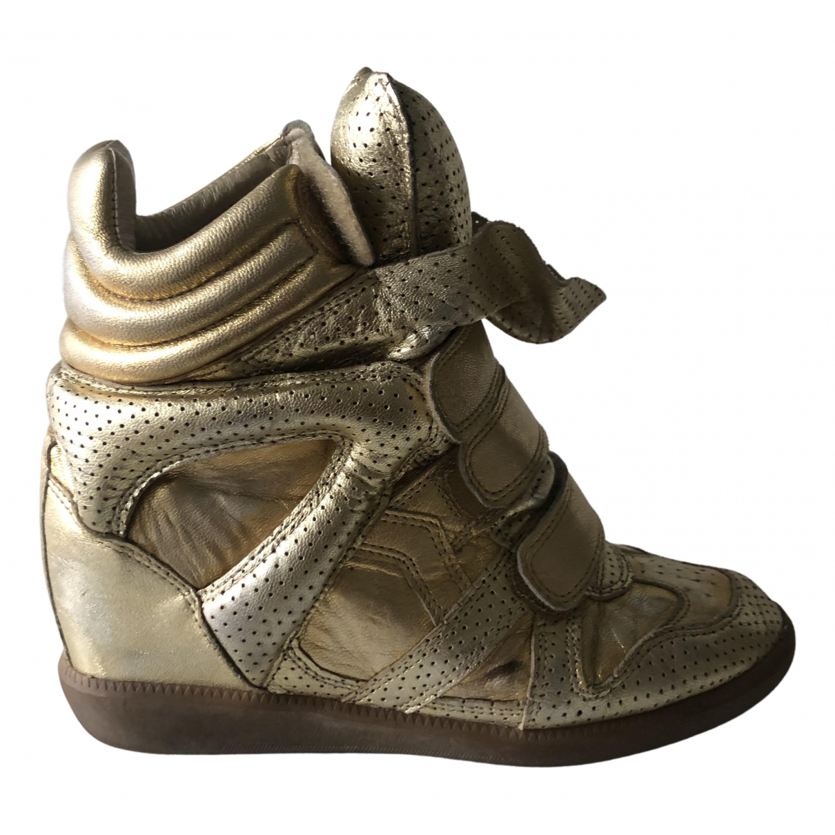 Isabel Marant Beckett Gold Leather Trainers for Women 37 EU