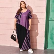Vestido de tienda de rayas de color combinado