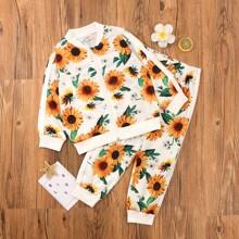 Toddler Girls Floral Print Bomber Jacket & Sweatpants