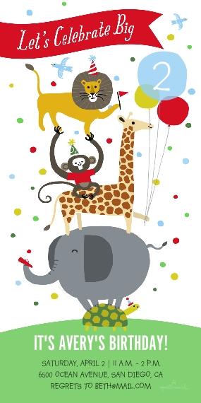 Kids Birthday Party 4x8 Flat Card Set, 85lb, Card & Stationery -Circus Animals Celebrate