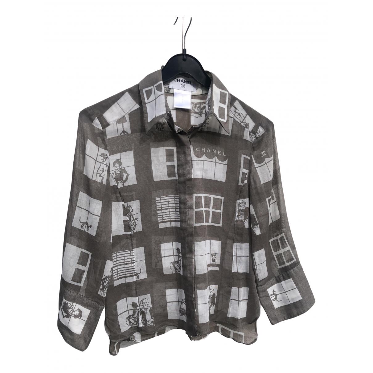 Chanel - Top   pour femme en coton - gris