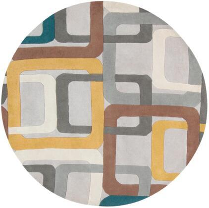 Forum FM-7159 6' Round Modern Rug in Dark Green  Medium Gray  Saffron  Dark Brown  Light Gray