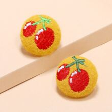 Cherry Embroidery Round Stud Earrings
