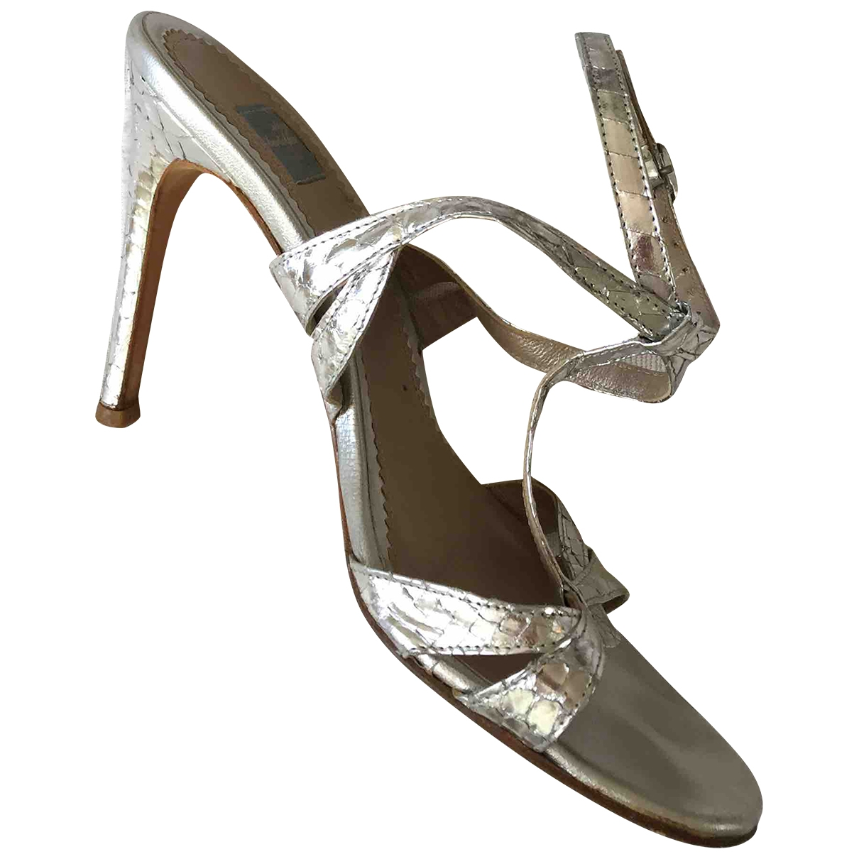 Non Signé / Unsigned \N Metallic Leather Sandals for Women 37.5 IT