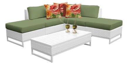 Miami MIAMI-06c-CILANTRO 6-Piece Wicker Patio Furniture Set 06c with 2 Armless Chairs  2 Ottomans  1 Corner Chair and 1 Coffee Table - Sail White and