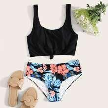 Bikini Badeanzug mit tropischem & Blumen Muster