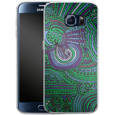 Samsung Galaxy S6 Silikon Handyhuelle - Drawing Meditation Green von Kaitlyn Parker