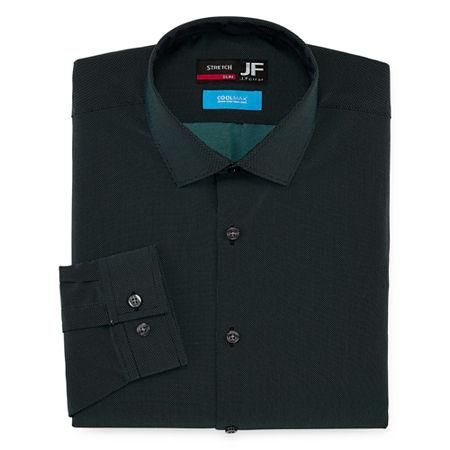 JF J.Ferrar Mens Coolmax Point Collar Long Sleeve Stretch Dress Shirt, 17-17.5 34-35, Green