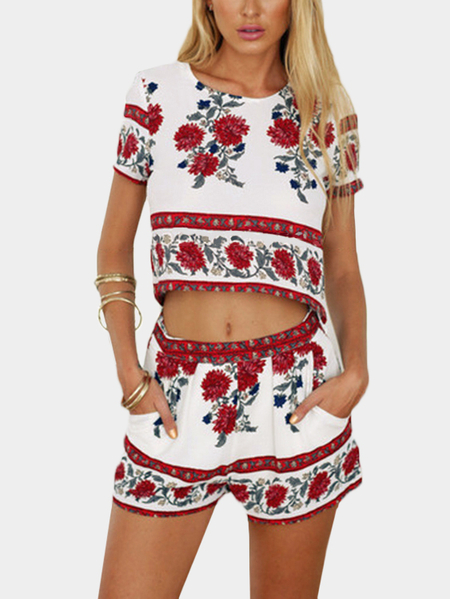 Yoins Floral Print Crop Top & Shorts Co-ord