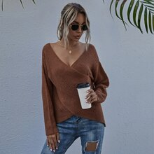 Drop Shoulder Wrap Sweater