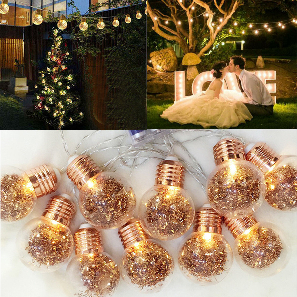 10 LED Bulbs String Lights Fairy Lamp Patio Party Yard Garden Wedding Home Decorative Night Light