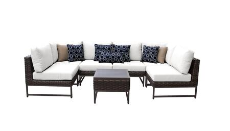 Barcelona BARCELONA-07c-BRN-WHITE 7-Piece Patio Set 07c with 2 Corner Chairs  4 Armless Chairs and 1 End Table - Beige and Sail White Covers with