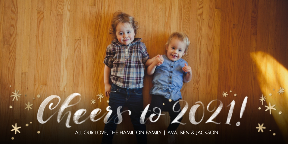 New Year's Photo Cards 4x8 Flat Card Set, 85lb, Card & Stationery -2021 Cheers to You by Tumbalina