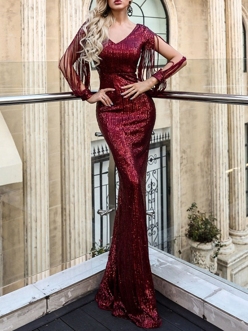 Ericdress Floor-Length Sequins Long Sleeves V-Neck Evening Dress