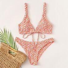 Bañador bikini con cordon trasera de leopardo