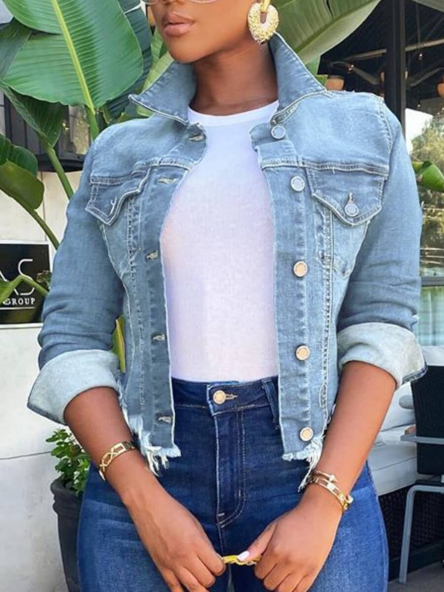 LW Lovely Casual Turndown Collar Buttons Design Baby Blue Denim Jacket