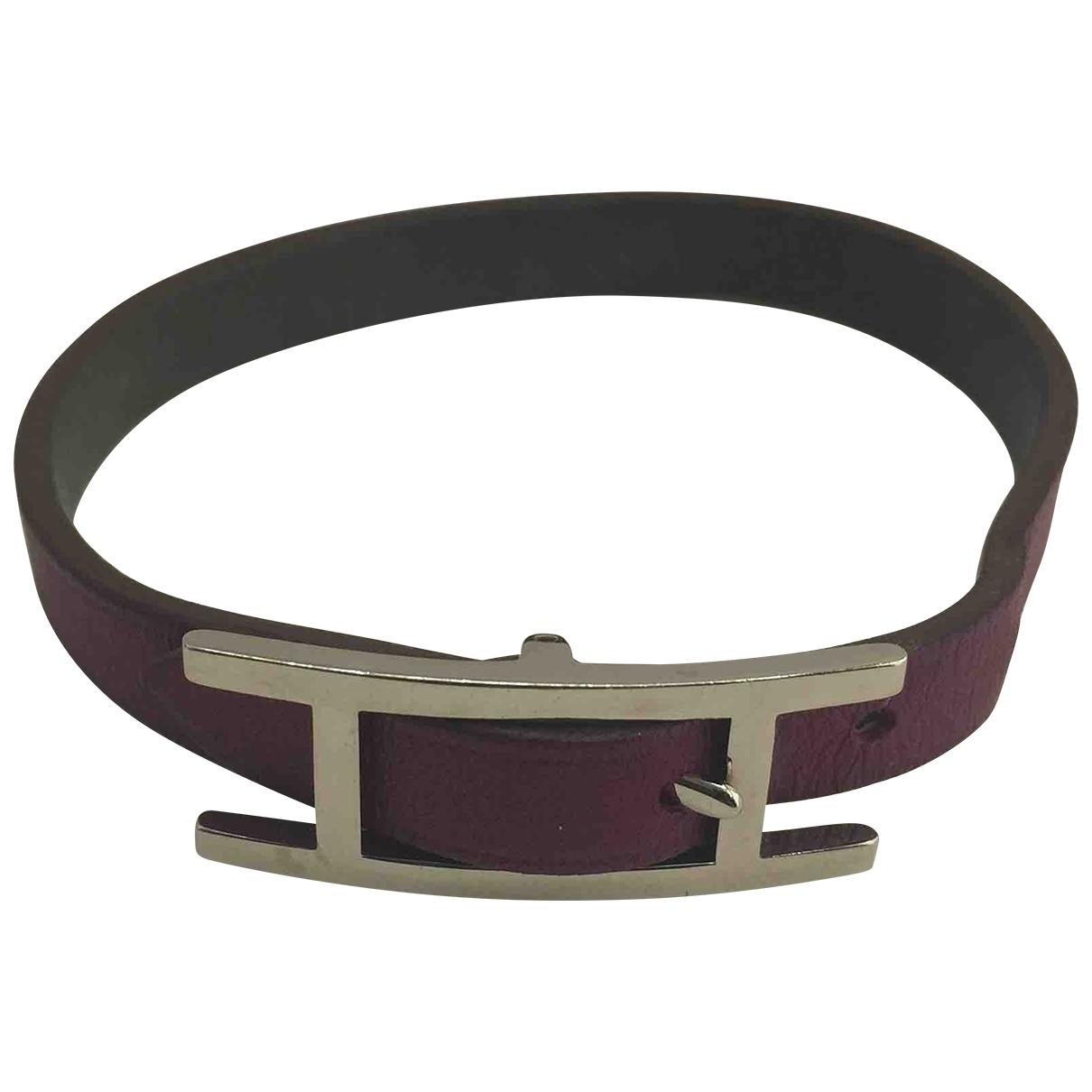 Hermes - Bracelet Hapi pour femme en cuir - violet
