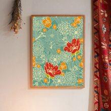 Pintura de pared con estampado de flor sin marco