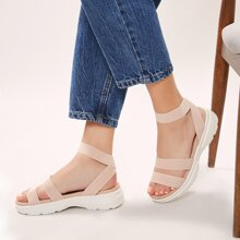 Elastic Ankle Strap Open Toe Chunky Sole Sandals