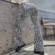 Zebra Striped Print Flare Pants
