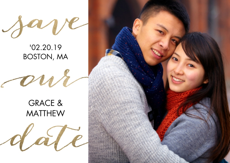 Save the Date Mail-for-Me Premium 5x7 Postcard, Card & Stationery -Save the Date Gold Script