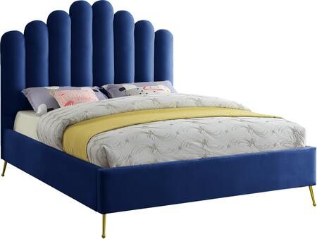 Lily Collection LILYNAVY-F Full Size Bed with Velvet Upholstery  Channel Tufting  Gold Steel Legs and Contemporary Style in