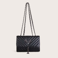 Tassel Decor Chevron Flap Shoulder Bag