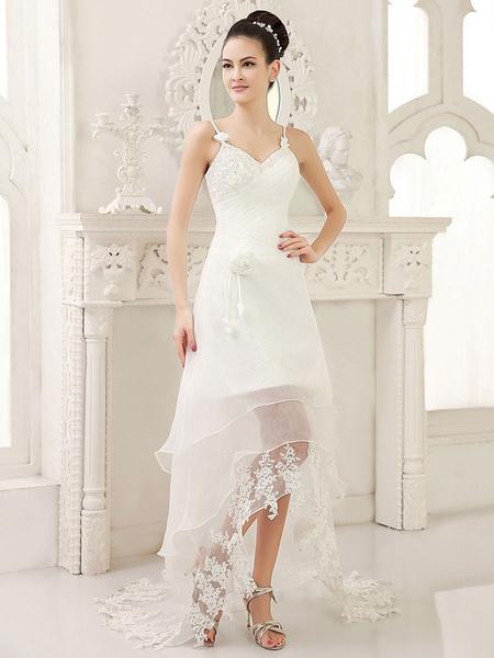 Milanoo Vestido de novia de organza con escote en corazon y capas de cola asimetrica