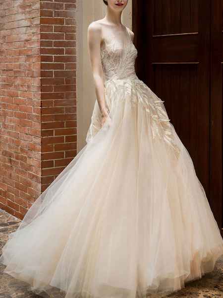 Milanoo Wedding Dress 2020 Princess Silhouette Floor Length Jewel Neck Sleeveless Natural Waist Lace Tulle Bridal Gowns