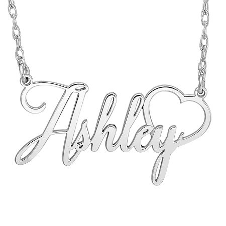 Personalized Womens Sterling Silver Pendant Necklace, One Size , No Color Family